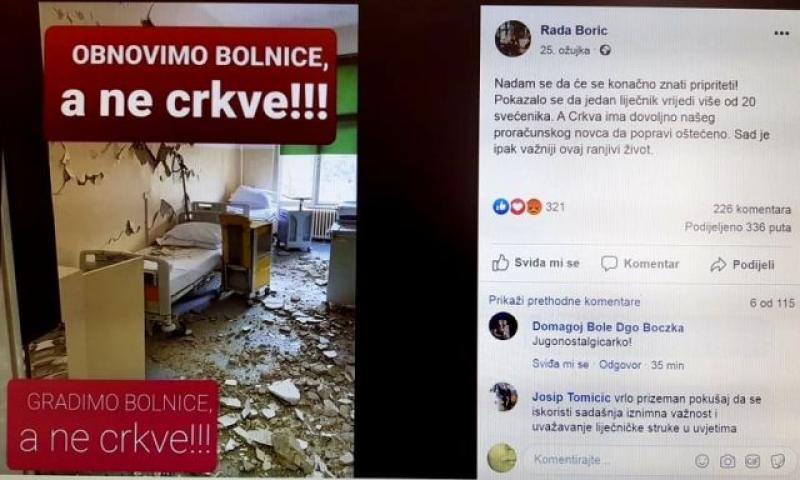 PREKIPJELO FRA MARIU KNEZOVIĆU 'Rada Borić i ostali lešinari, oprostite, ali zašutite!'