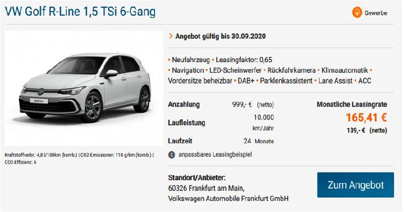 JOŠ JEDNO OSVJEŽENJE IZ VW-a FRANKFURT ZA PODUZETNIKE – VW Golf R-Line 1,5 TSi 6-Gang