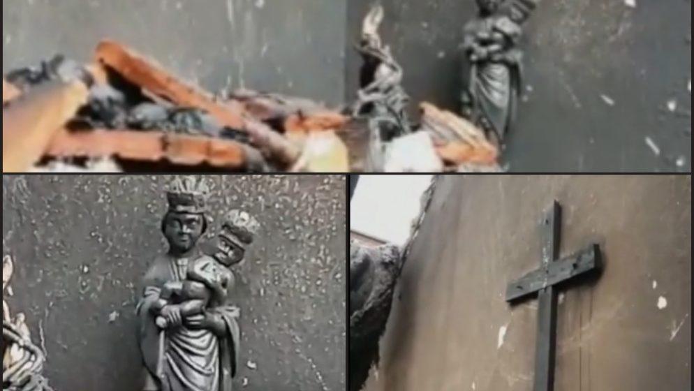 Izgorjelo sve osim PLASTIČNOG Gospinog kipa i DRVENOG križa!