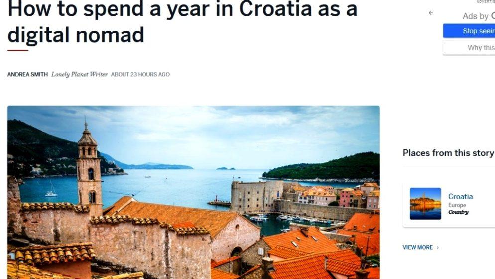 Lonely Planet piše o Hrvatskoj kao destinaciji za digitalne nomade