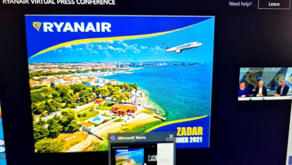 Ryanair u Zadru otvara ljetnu bazu i uvodi 37 linija od srpnja do kraja listopada