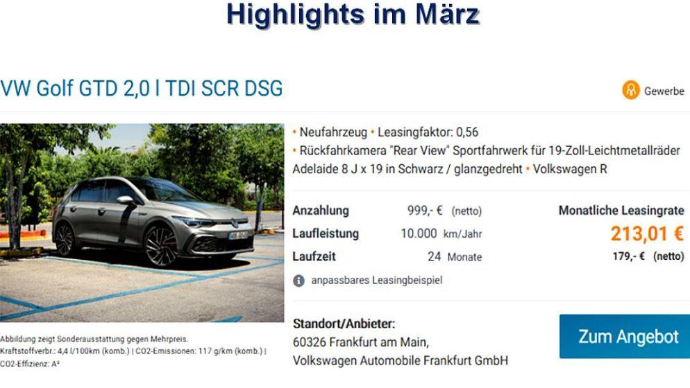 VW OBJAVIO NOVU PONUDU ZA OŽUJAK – Golf GTD po povoljnoj mjesečnoj rati od 213,01 euro