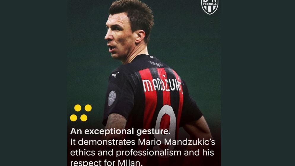 Mandžukić se odrekao 300.000 eura mjesečne plaće, Milan će ju donirati