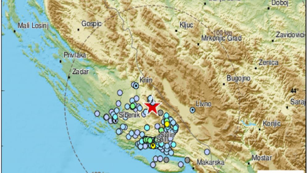 Jutros, malo prije 6 sati, zabilježen umjeren potres kod Drniša