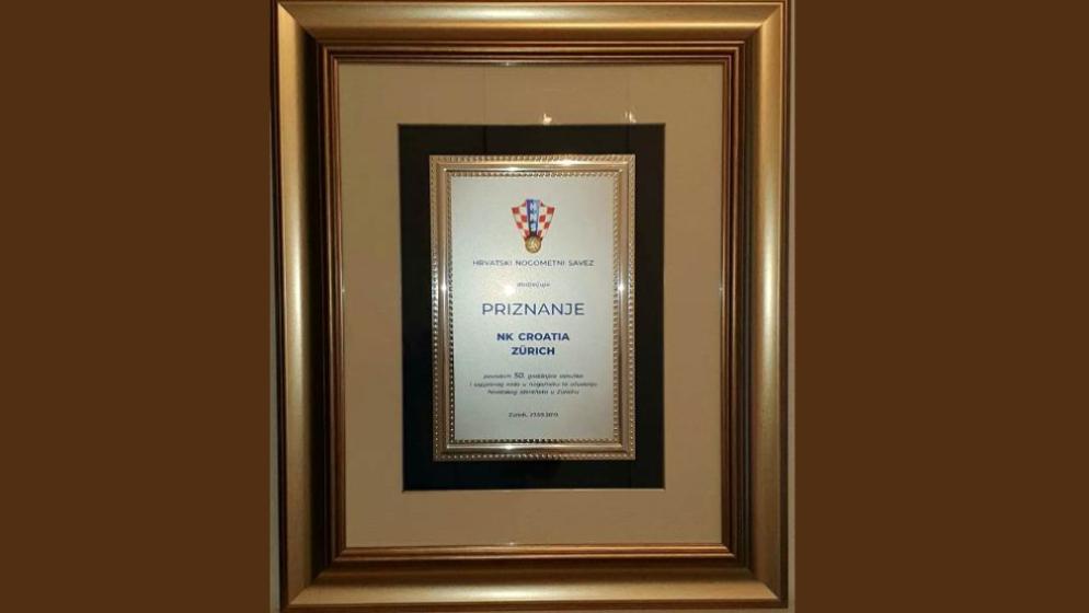 NK Croatia Zürich dobila posebno priznanje Hrvatskog nogometnog saveza
