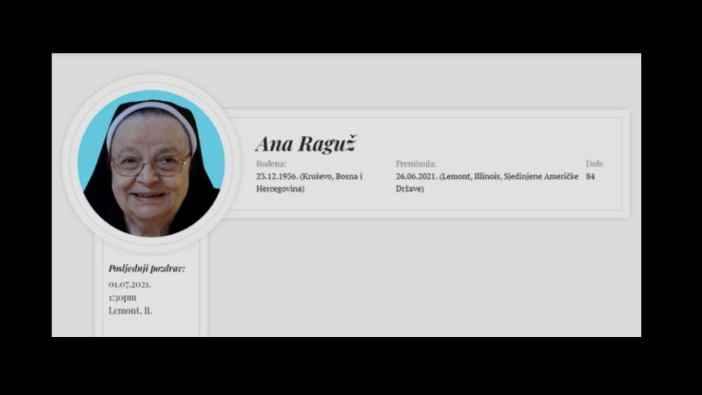 U Sjedinjenim Američkim Državama preminula časna sestra Ana Raguž
